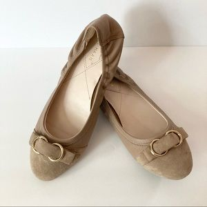 Cole Haan Tan Suede & Leather Buckle Ballet Flats
